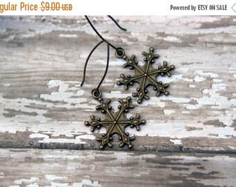 Snowflake Earrings, Winter Dangles, Brass, Winter, Christmas, Stocking Stuffer, Gift Box