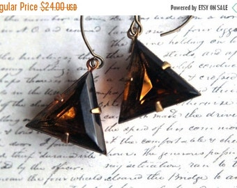 Smoky Topaz Crystal Triangle Earrings  Vintage, Geometric, Faceted Glass, Antiqued Brass  Spring Fashion  Wedding  Gift Box