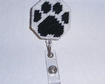 Paw Print Retractable Badge Clip
