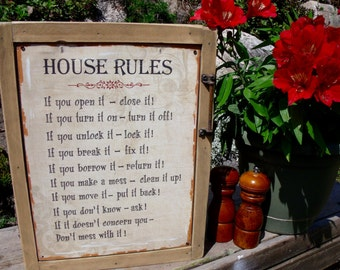 """TIN SIGN CABINET-WaLL storage-""""House RuLes""""-CoPPer hinges,antiQue handle-w/hanging hardware & instructions included-Medicine/spice cabinet"""