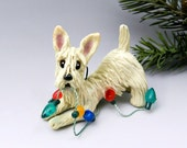 Scottish Terrier Wheaten Christmas Ornament Figurine Lights Porcelain