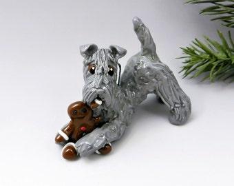 Kerry Blue Terrier Christmas Ornament Figurine Gingerbread Man Porcelain