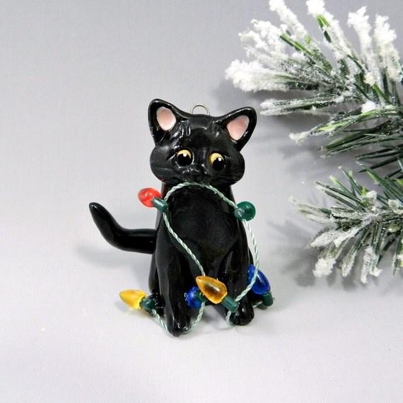 Reserved for cdTu42 Black Cat Christmas Ornaments Porcelain