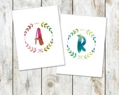 Leafy Initial Watercolor Stationery - Watercolor Folded Note Cards - Thank You Notes - Personalized Initial Cards