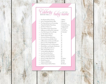 Pink Sugar Stripes Celebrity Baby Shower Game Instant Download- Baby Shower Printable