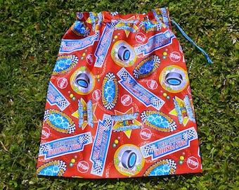 Boys large library bag or toy bag, racing car parts, red cotton drawstring bag