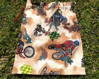 Library bag, BMX motorbikes, large cotton drawstring for toys school storage