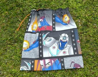 Boys library bag or toy bag, ninja fighters, large blue, orange and black cotton drawstring