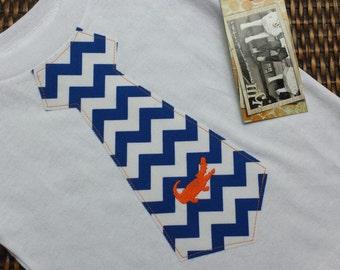 Boys University of Florida Gators Orange and Blue Game Day Gator Tie Shirt