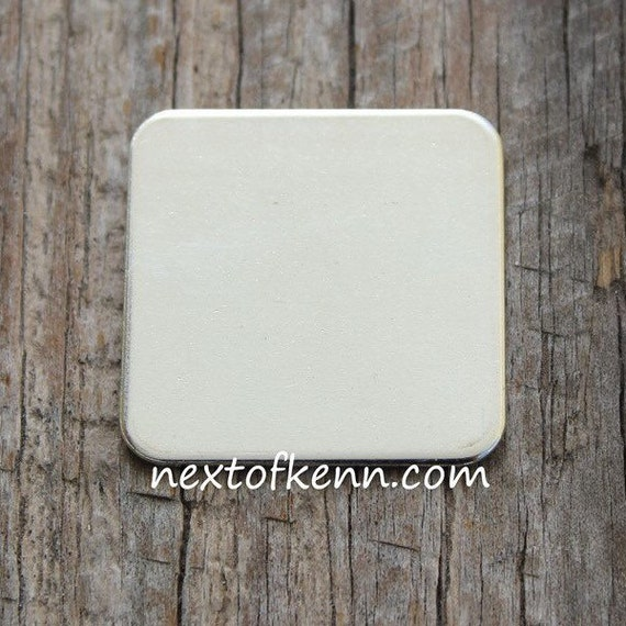 2 Pack of 3/4 inch 20 g  Rounded Sterling Silver Squares - Great for creating personalized hand stamped jewelry