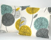 pair of teal grey mustard decorative pillow covers , dandelion cushion covers 18 inch