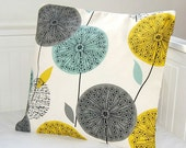18 inch teal grey mustard cushion cover, dandelion flower decorative pillow cover