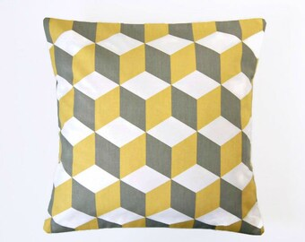 decorative pillow cover, mustard yellow, grey white, abstract cube 16 inch cushion cover