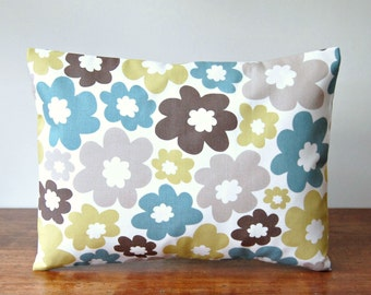 REDUCED TO CLEAR 12 x 16 retro flowers cushion cover, teal blue, lime green, light brown flowers, floral decorative lumbar pillow cover