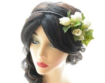Wedding head piece, Rose flower crown, Bridal hair accessories, Flower girl headpiece, Ivy headpiece