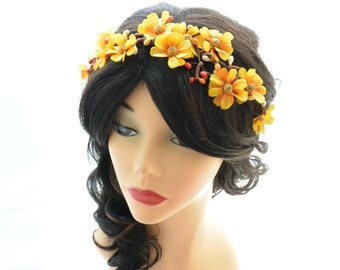 fall flower headpiece, fall wedding hair accessory, fall autumn head wreath, woodland wedding headband