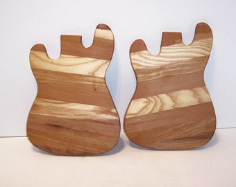 Guitar Wood Cheese Boards (Set of 2) Handcrafted from Mixed Hardwoods