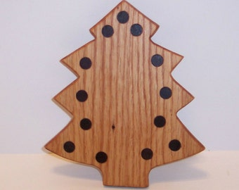Mini Christmas Tree Cutting Board Handcrafted from Oak Hardwood