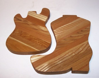 Western Boot & Guitar Cutting Board Combo Handcrafted from Mixed Hardwoods