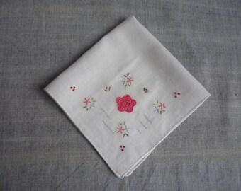 Vintage cotton ladies handkerchief, embroidery, applique on soft cotton, hankie, white handkerchief