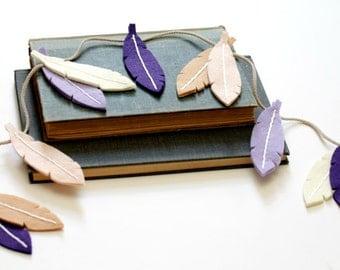 Purple Feather Garland. Felt Feather Tribal Nursery Decor for Modern Nursery. Baby Girls Room Bunting Handmade by Ordinary Mommy Design