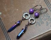 Blue Quartz Crystal Earrings ~ Purple and Blue Earrings ~ Titanium Quartz Point ~ Antiqued Copper Earrings Rustic Jewelry Long Dangly Drops