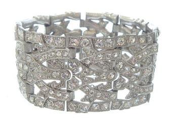 Art Deco Bracelet, Wide Vintage Rhinestone Cuff, 1920 Original Antique Art Deco Jewelry, Statement Jewelry