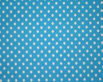 1 yard Turqoise small dots Knit
