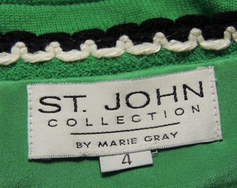 ST. JOHN by Marie Gray size 4 Kelly Green Skirt with black/white Trim