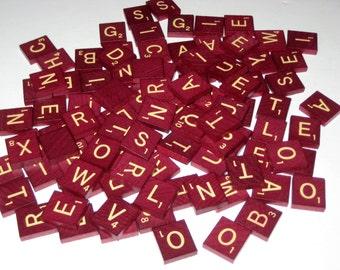 100  Burgundy Wooden Scrabble Letter Tiles for Altered Art, Collage, Scrapbooking, etc.