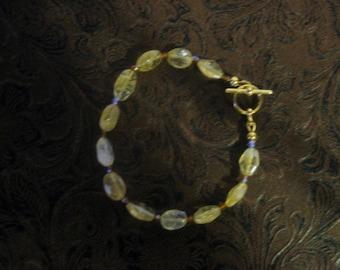"Citrine & Crystal Toggle Bracelet 8"""