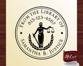 Law Scales Ex Libris Stamp, Attorney Gift Library Stamp, Custom Self Inking Law Library Stamp, Blind Justice Library Stamp - Style 1579B