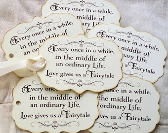 Every Once In A While... Love Gives Us A Fairytale Wedding Favor or Wish Tree Tags #680