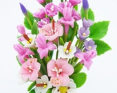 Blooming Miniature Gladiolus, Iris and Rhododendron Polymer Clay Flowers Supply for Lovely Gift  1 piece