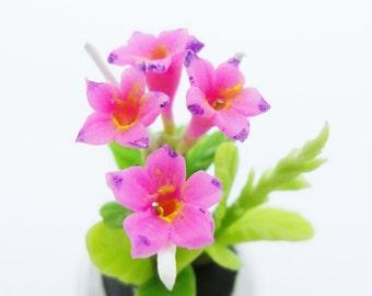 Azalea Miniature Polymer Clay Handmade Flowers for Dollhouse 1 piece