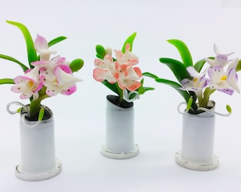 Orchids Miniature Polymer Clay Handmade Flowers for Dollhouse, set of 3 pieces