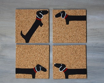 Dachshund Coasters set of 4 Hand Painted on Cork
