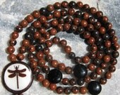 Mahogany Obsidian Mala Prayer Beads Rosary - Brown and Black