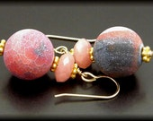 FIVE O'CLOCK ~ Pink Jade, Agate 14kt Gold Fill Earrings