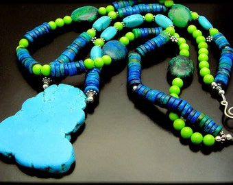BLUEST SKY ~ Chunky Arizona Turquoise,Chrysocolla Silver  Necklace