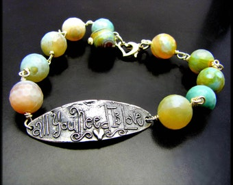 LOVE ~ Faceted Fire Agate, Sterling Silver Bracelet