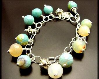 SWEET TREATS ~ Amazonite, Blue Fire Agates, Sterling Silver Bracelet