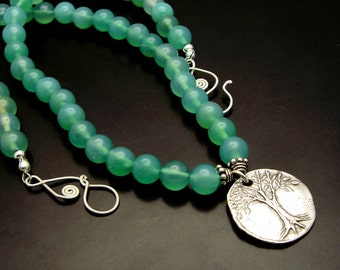 TREE OF LIFE ~ Green Chalcedony, Sterling Silver Tree of Life Necklace