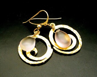 DROP OF LIGHT  Rose Quartz. 14kt Gold Fill Spiral Earrings
