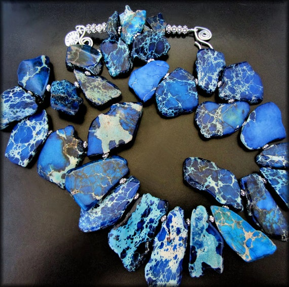 FRACTURED NIGHT ~ Bold Sapphire Blue Sediment Jasper, Sterling Necklace