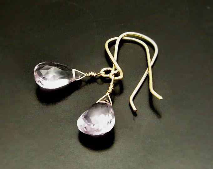 LOVE LIGHT ~  Pink  Amethyst, 14kt Gold Fill  Earrings
