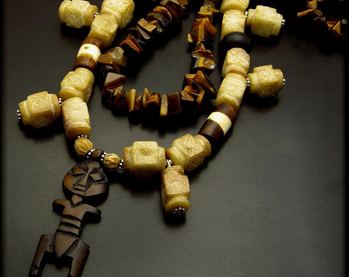 OUR LEADER ~ Tiger Eye, Carved Jade, Wood, Necklace