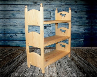 """Triple Bunk Bed 3 Stackable American Girl Single Doll Beds 18"""" Kids Children Playroom Toy Furniture Horse Design Decor Gift for Girls"""
