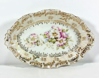 Antique Small Oval Bowl / Butter Dish with Pink and White Roses,  Bright Gold Embellishments, Textured/Scalloped Edges