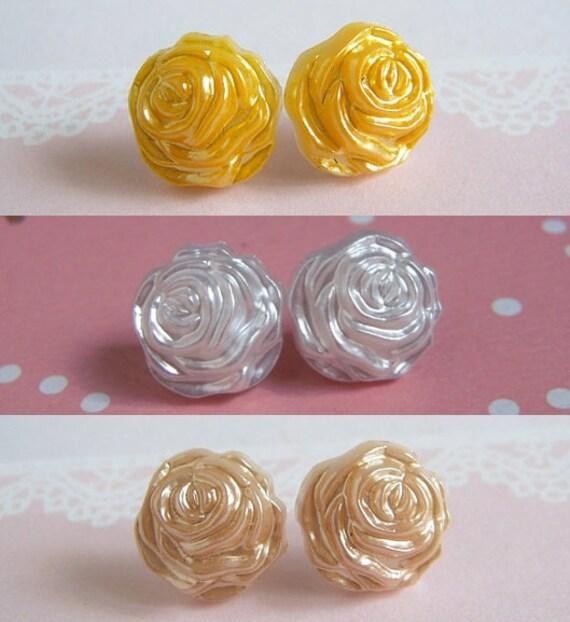 Rose Stud Earrings, Silk White Rose, Beige Rose, Deep Yellow, Pick Your Color, Flower Earrings